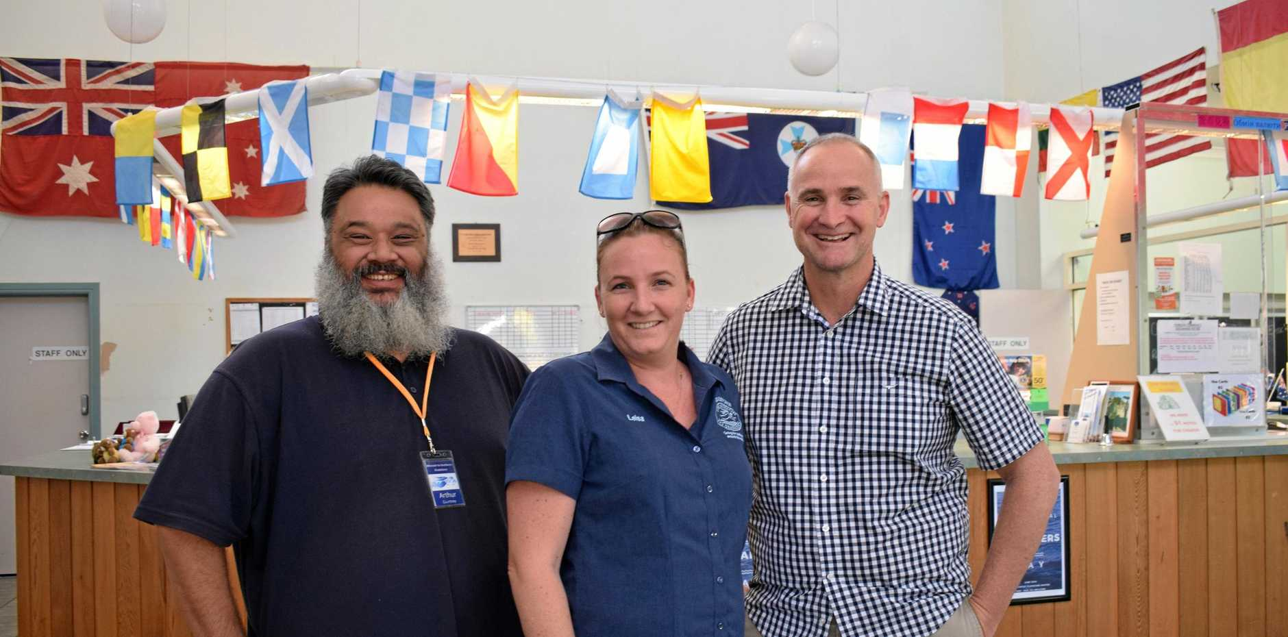 CALMER WATERS: Mission to Seafarers volunteer Arthur Courtney, executive assistant to the general manager Leisa McLeod and Member for Gladstone Glenn Butcher are planning for the future of the organisation.
