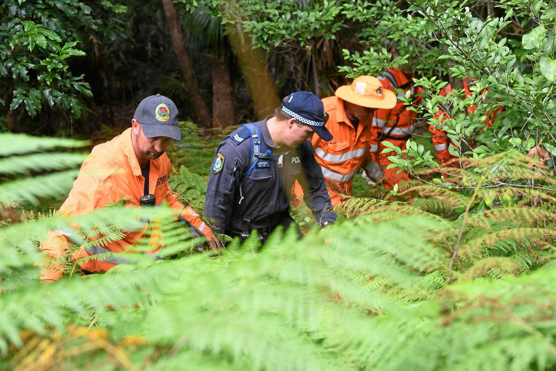 SES and police continue the search for missing Belgium backpacker Theo Hayez in thick bushland between The Pass and Wategoes.