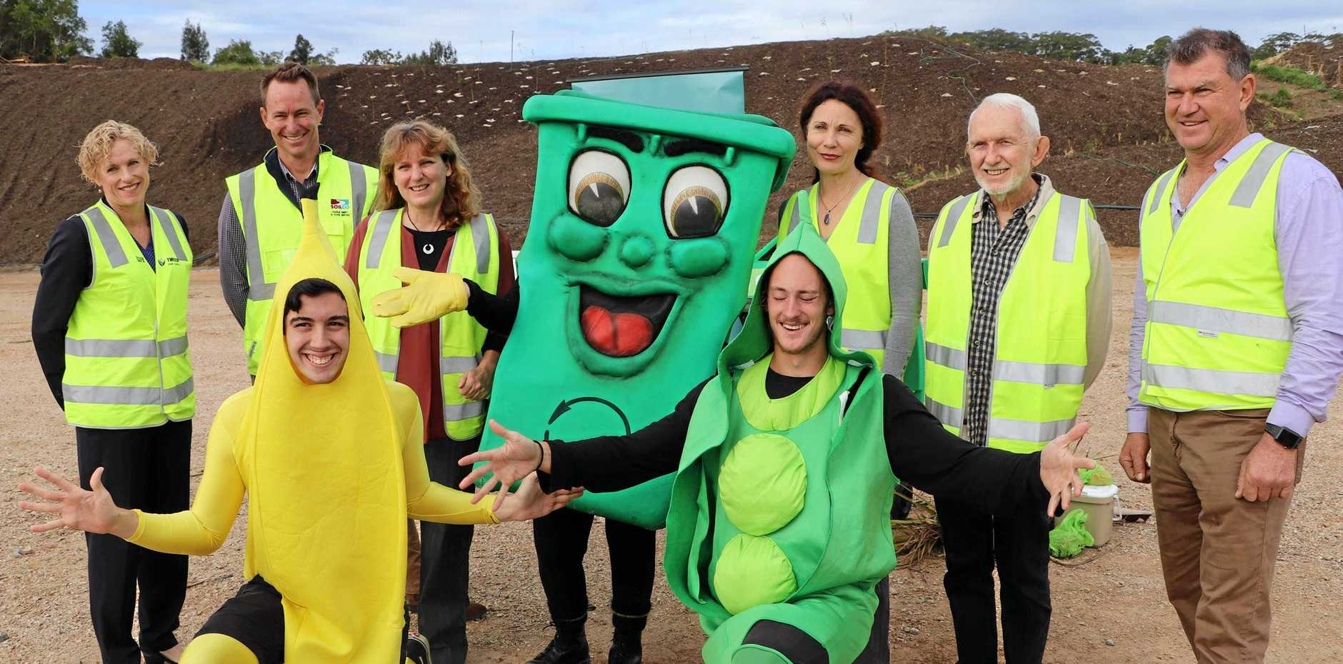 Willy the wheely bin and friends along with Council Director of Community and Natural Resources, Tracey Stinson, Soilco General Manager Charlie Emery, Mayor of Tweed Katie Milne, Deputy Mayor Chris Cherry and Councillors Ron Cooper and Pryce Allsop.