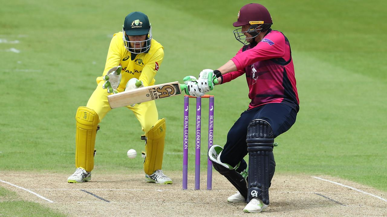 Peter Handscomb kept wicket for Australia A in their opening tour match.