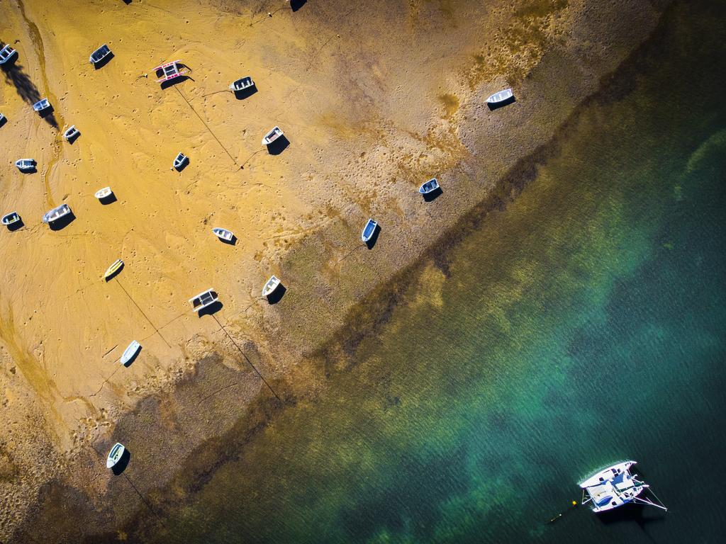 A drone's eye view of boats at Victoria Point, southeast of Brisbane. Picture: Nigel Hallett