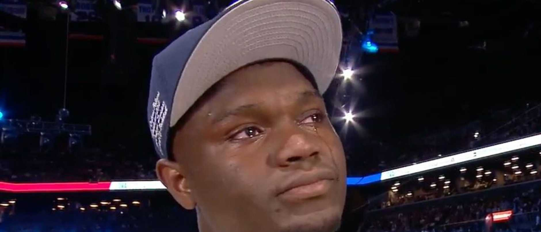 Zion Williamson couldn't hold back the tears after being selected at No.1 in the 2019 NBA Draft.