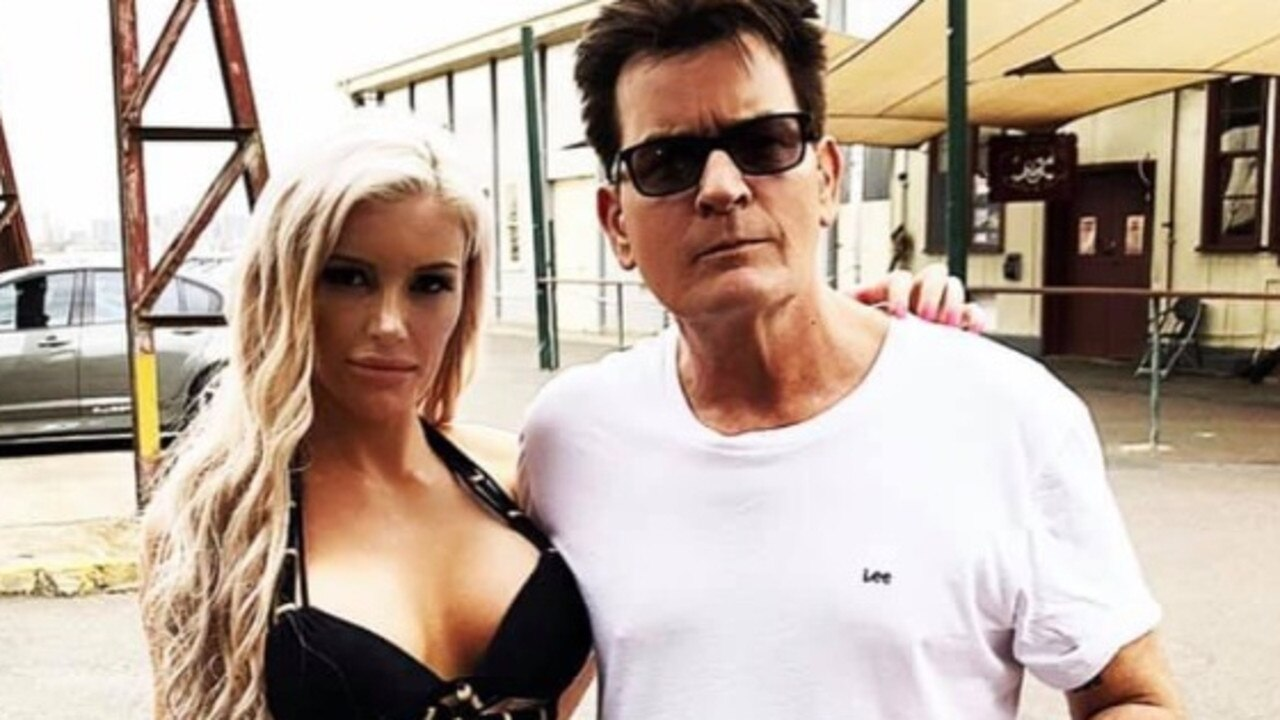 Haylee Baxter and Charlie Sheen on set at the filming of an Ultra Tune commercial back in November. Picture: Facebook, Haylee Baxter