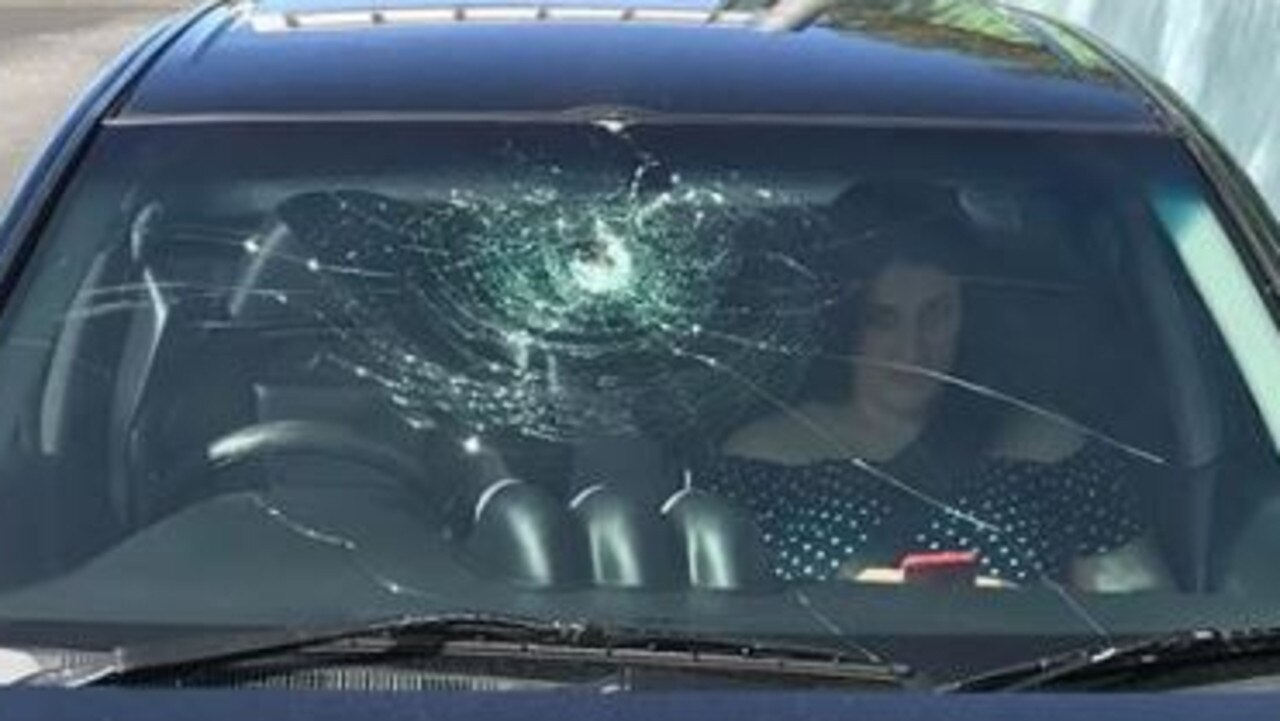 The windscreen of the couple's car after a near-miss on the M1 on the Gold Coast last year.