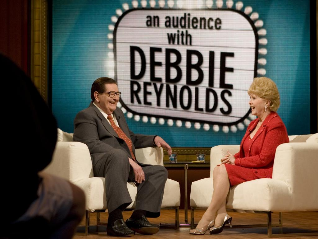TV personality Bill Collins and actor Debbie Reynolds on 'Bill Collins Presents: An Audience with Debbie Reynolds'.