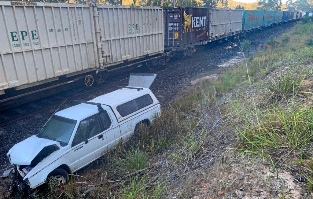 THE SCENE: A train crashed into a ute near Glenreagh this morning.