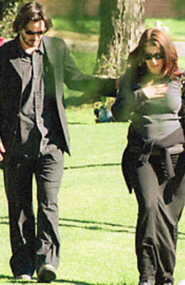 Keanu Reeves with his ex-girlfriend Jennifer Syme, who died in a car accident in 2001.