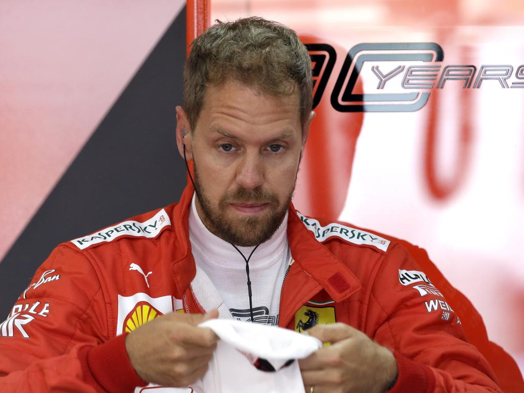 Ferrari driver Sebastian Vettel is not exactly happy. Picture: Claude Paris/AP