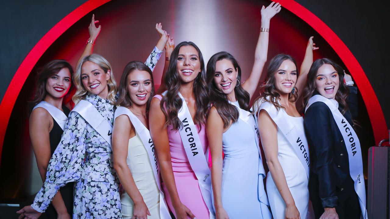 Miss Universe Victorian finalists (l-r) Pria Serrao, Brooke McAuley, Tyra McNeil, Eleanor Baillieu, Marijana Radmanovik, Danielle Collis and Ariel Russell. Picture: Wayne Taylor.