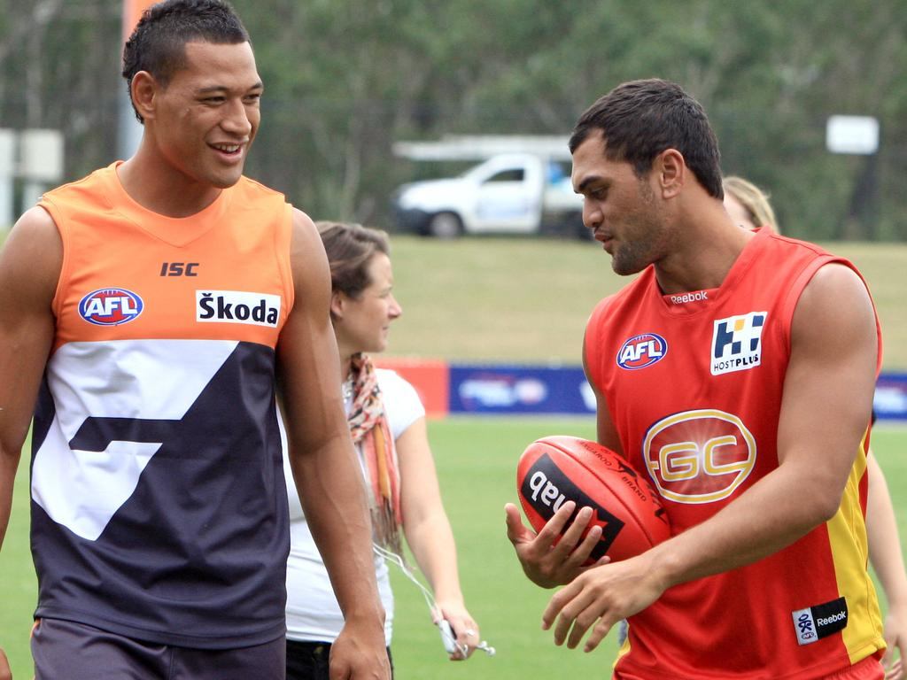 Israel Folau and Karmichael Hunt seemed to get along when they both moved to the AFL.