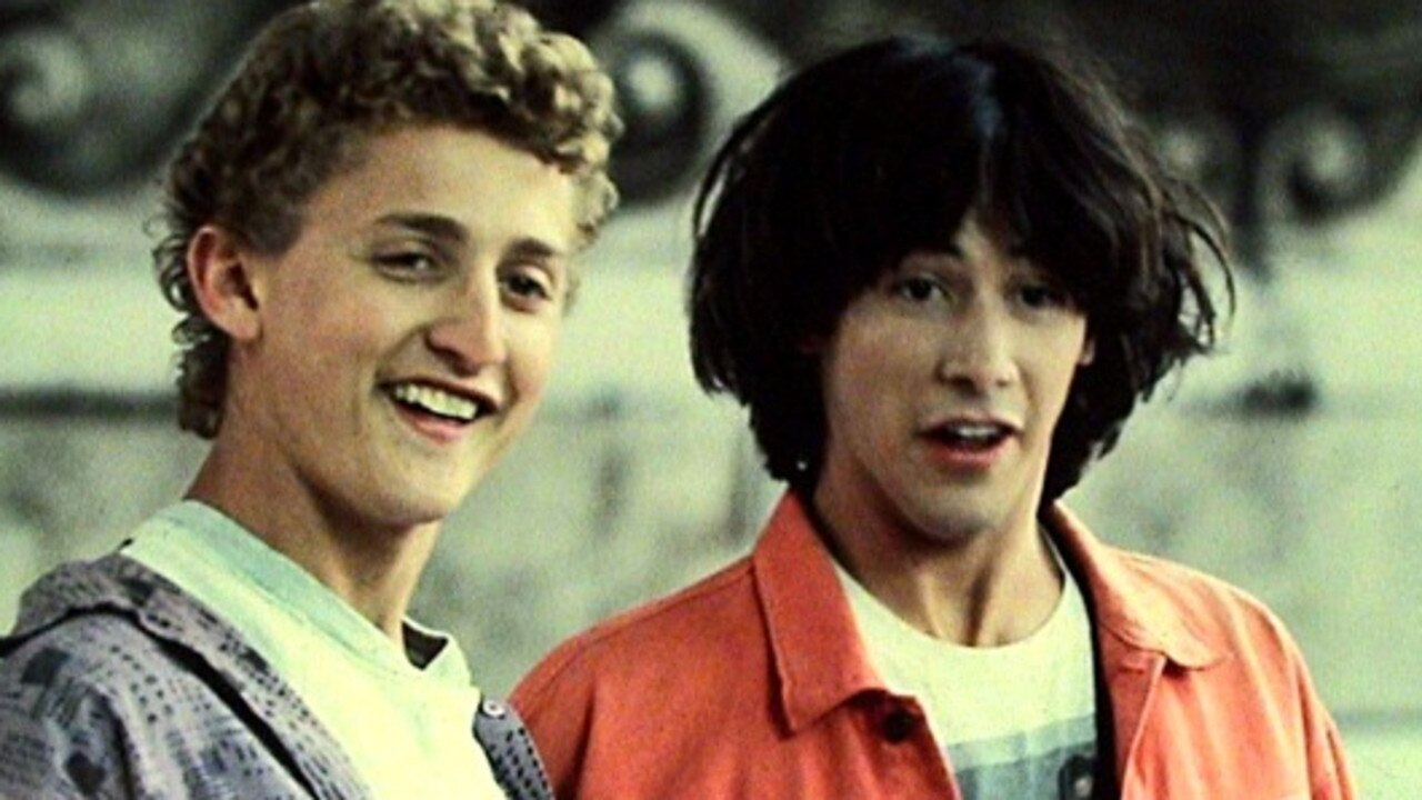 Bill (Alex Winter) and Ted (Keanu Reeves) in a scene from the 1989 film Bill & Ted's Excellent Adventure.