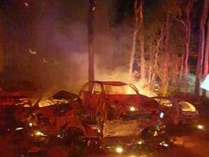 Bushfire burns more than 100 wrecked cars