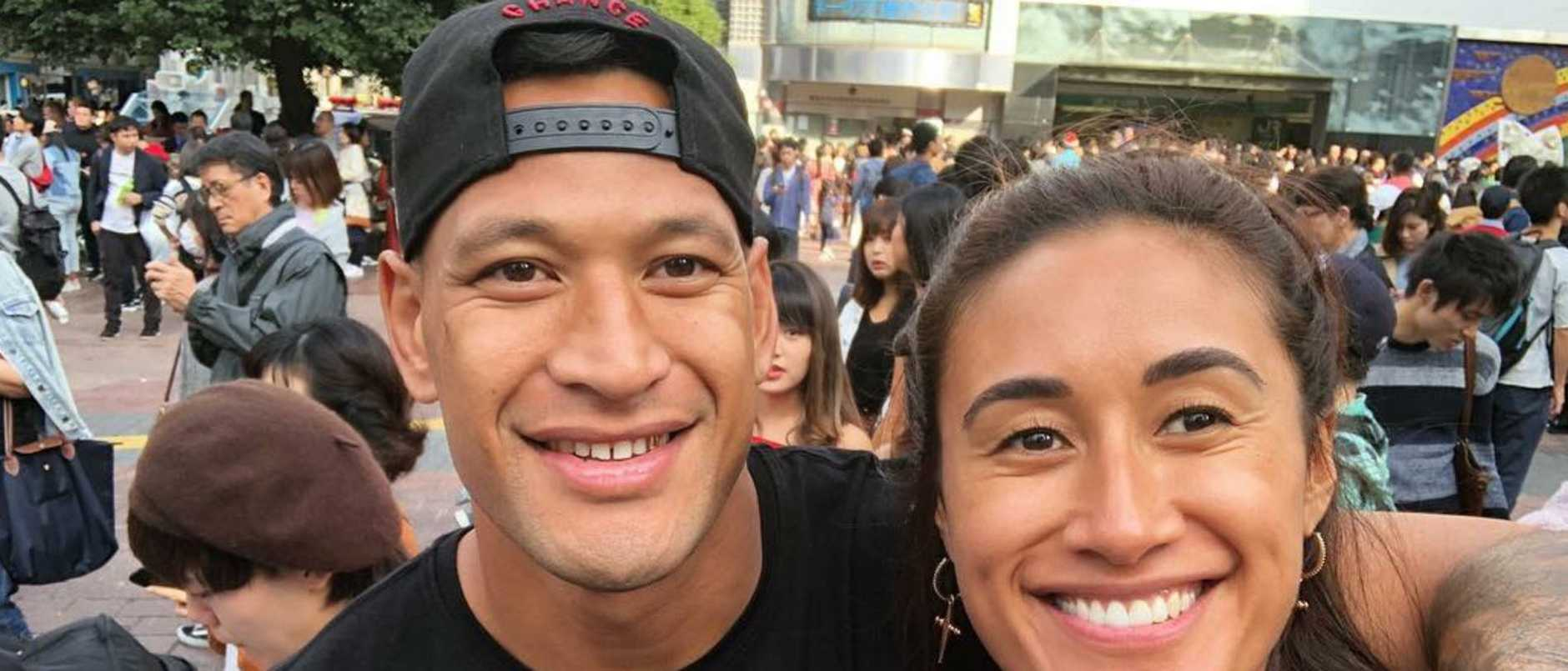 Israel Folau and wife Maria, who plays for the Thunderbirds in the Super Netball.
