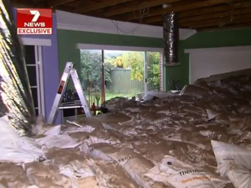 Michael Conolly had been playing video games in the room moments before the ceiling collapsed. Picture: 7 News
