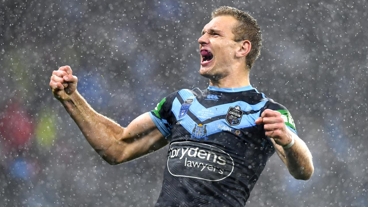 Tom Trbojevic celebrates a try for the Blues. Picture: AAP