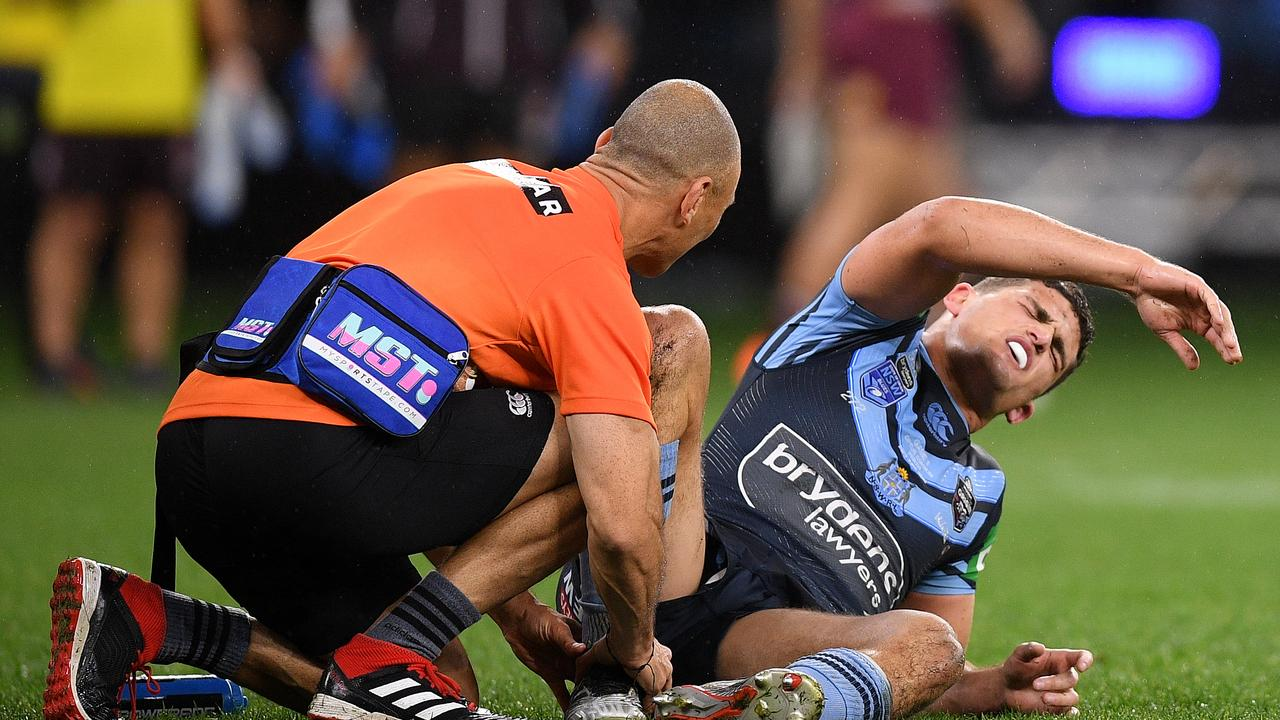 Nathan Cleary feels the pain on Sunday night in Perth.