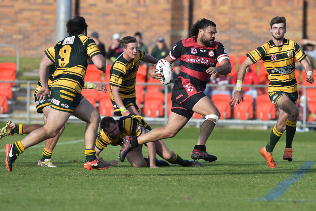 Kalemb Hart on the way to a Valleys try against Wattles in Madsen-Rasmussen Trophy of the TRL Premiership rugby league at Clive Berghofer Stadium, Sunday, June 23, 2019.
