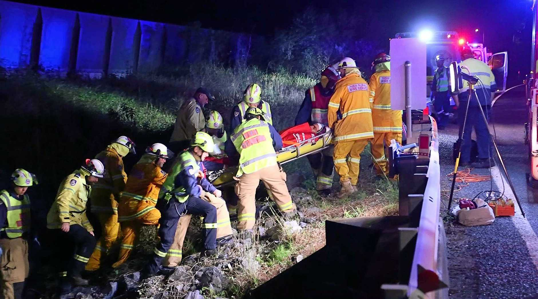 Three men were hospitalised after the Mercedes SUV they were travelling in left the Pacific Highway near Mullaway and crashed down an embankment on Monday night.