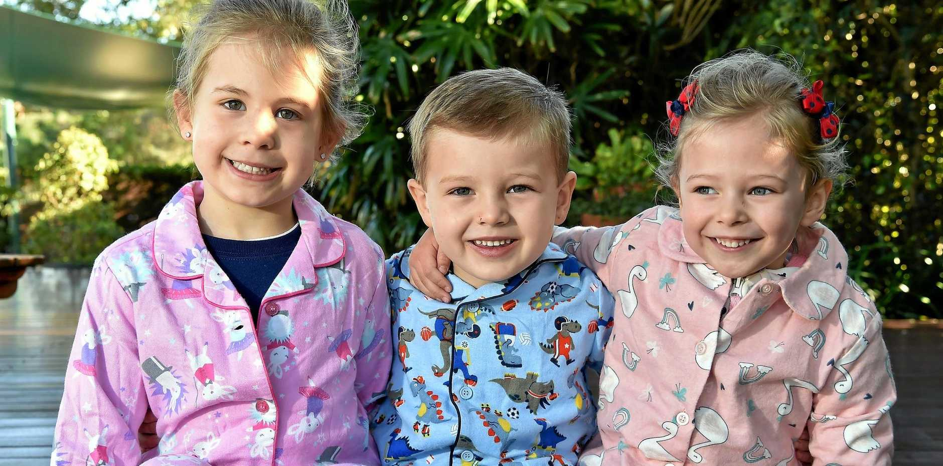 Marlo, Jack and Marvel at the Alexandra-Mooloolaba Community Kindergarten are excited to help kids stay warm this winter.