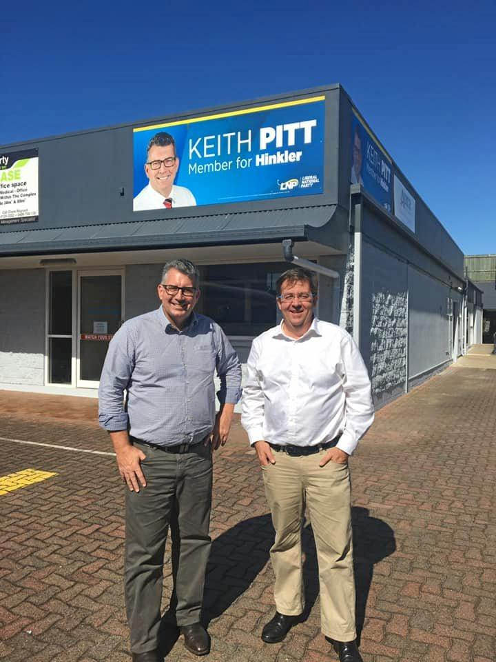Hinkler MP Keith Pitt and Qld Senator James McGrath visiting the Hervey Bay electorate office recently.
