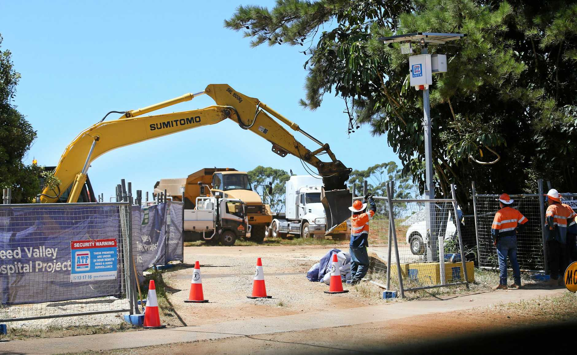 The trucks roll-in for preliminary works at the Tweed Valley Hospital site at Cudgen.