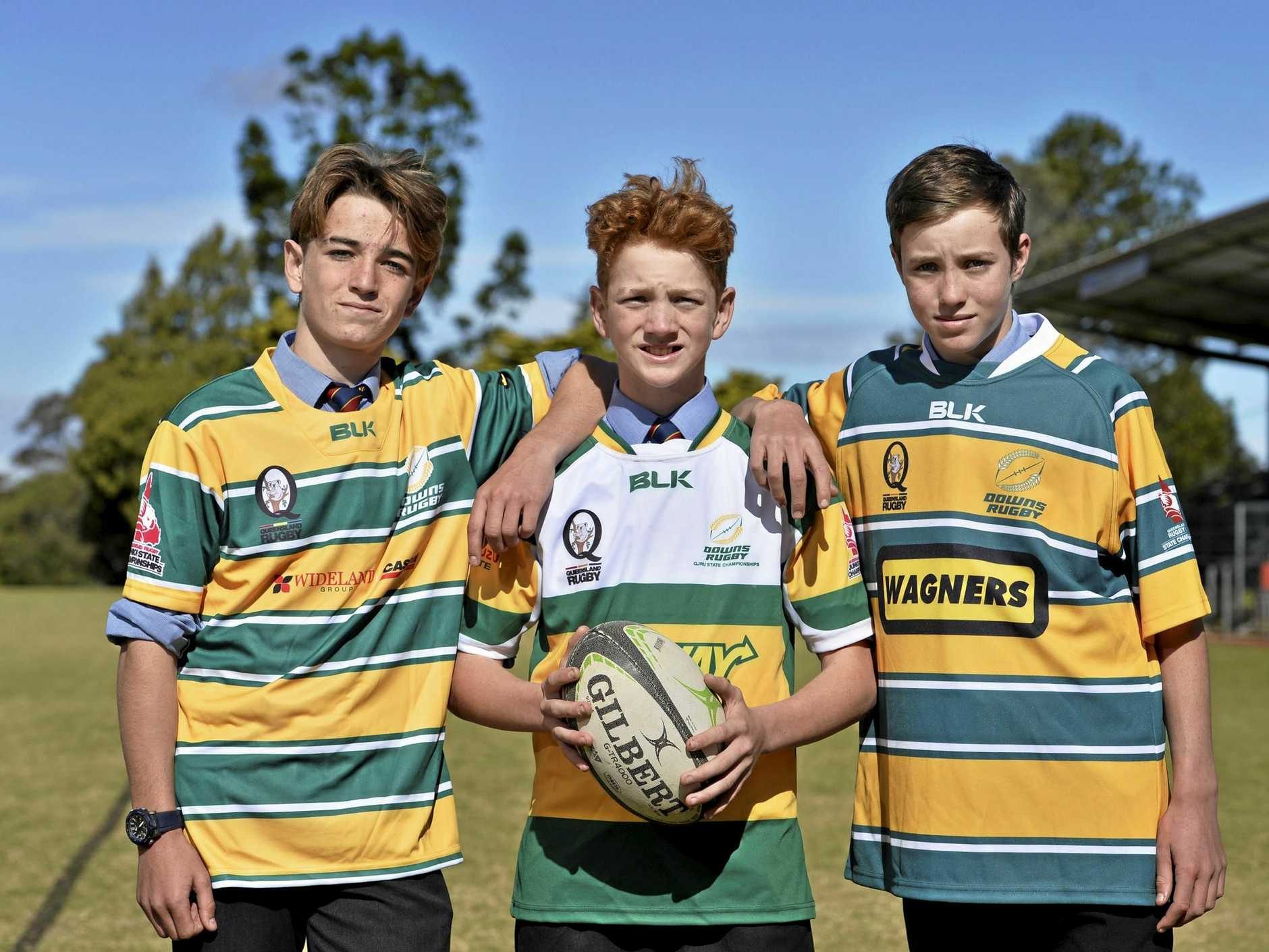 RUGBY TITLES: Young rugby stars (from left) Hamish Loughnan, Oscar Lane and Max North are looking forward to the upcoming Teenage Boys State Championships. Downlands College will host the event from July 5-7 with more than 800 players signed on for the competition.