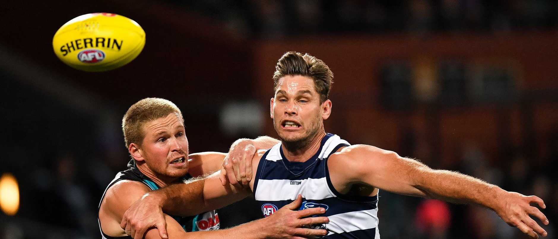 Tom Clurey shuts down Geelong's Tom Hawkins.