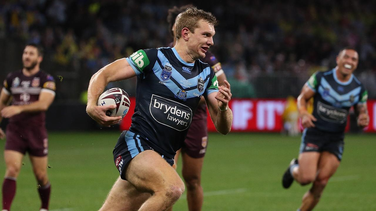 Tom Trbojevic runs to the try line in NSW's win over Queensland on Sunday night. Picture: Getty Images