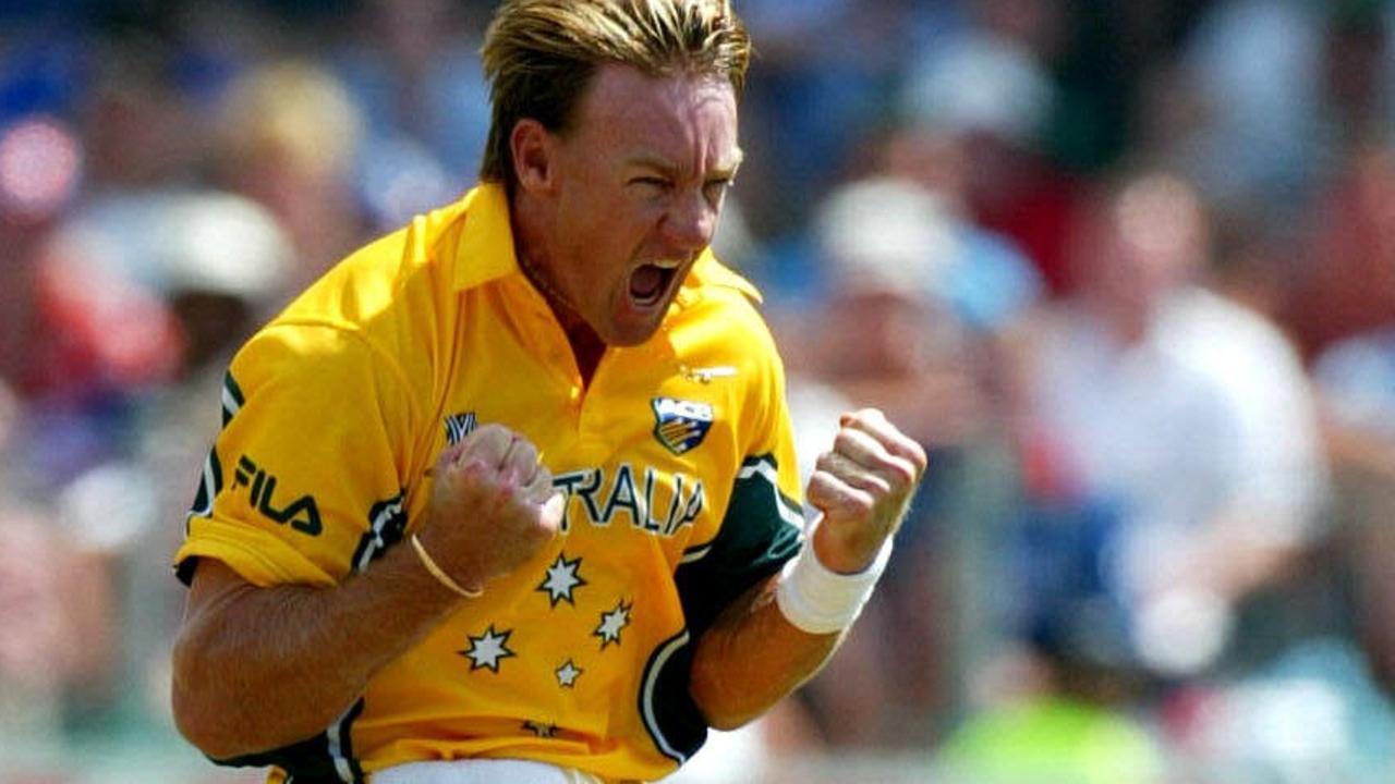 2/03/2003: Andy Bichel celebrates bowling Nasser Hussain. Australia v England at St Georges Park, Port Elizabeth.