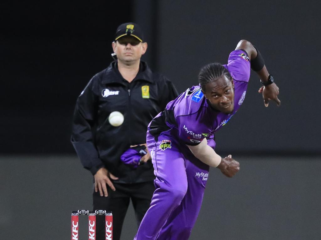 Jofra Archer used his stint with the Hurricanes in the BBL to launch into a lucrative IPL contract. Picture: AAP Image/Rob Blakers