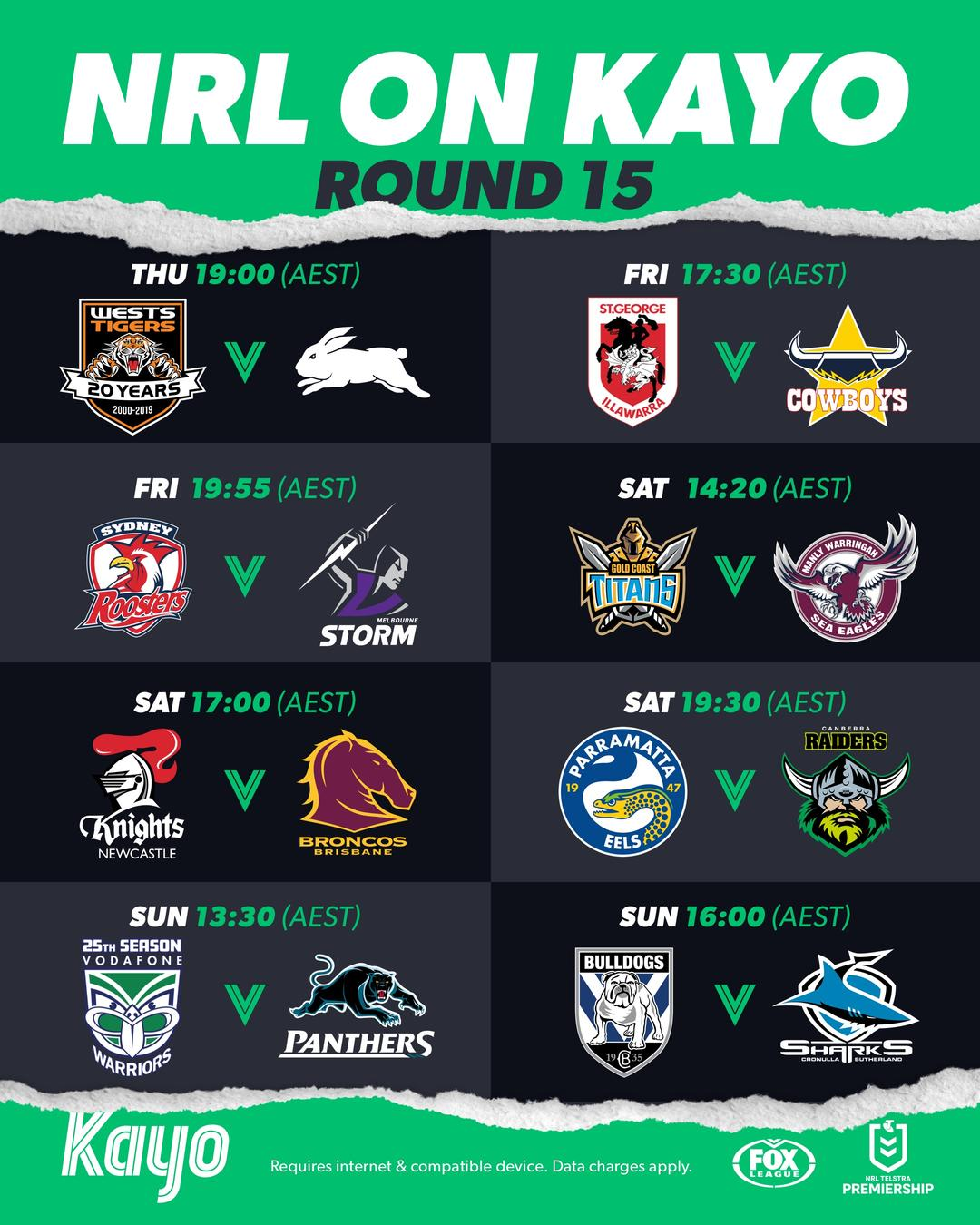 What's on Kayo NRL Round 15