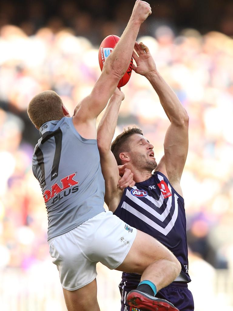 Clurey spoils Fremantle recruit Jesse Hogan. Picture: Paul Kane/Getty Images