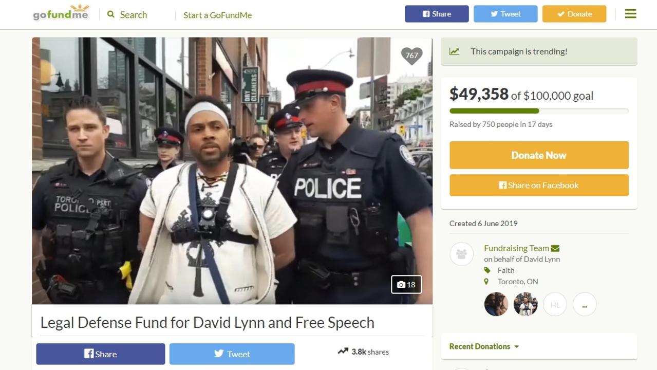 David Lynn's GoFundMe page was still active on Monday night. Picture: GoFundMe