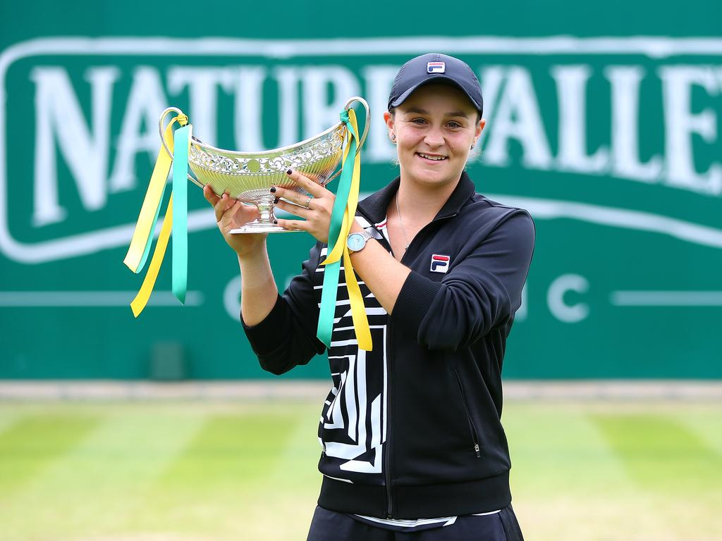 Ash Barty with the spoils in Edgbaston.