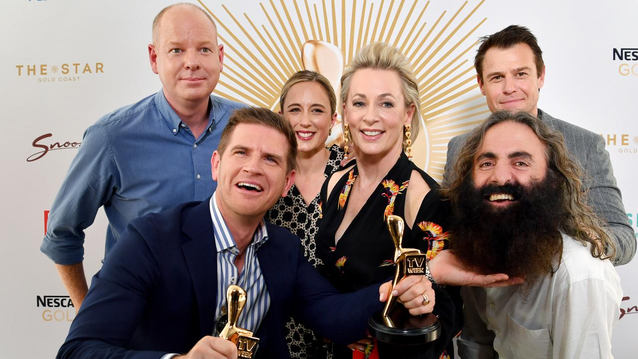 Gold Logie nominees Tom Gleeson, Sam Mac, Eve Morey, Amanda Keller, Rodger Corser and Costa Georgiadis. Missing is Waleed Aly.