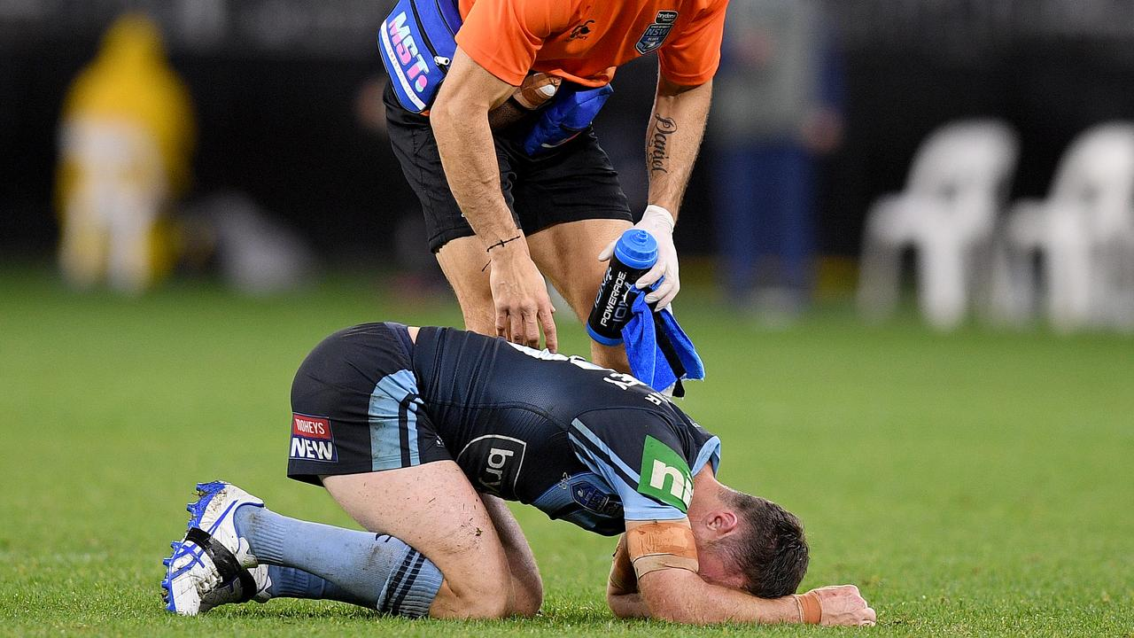 James Maloney was taken out by a late tackle from Jarrod Wallace in Origin III.