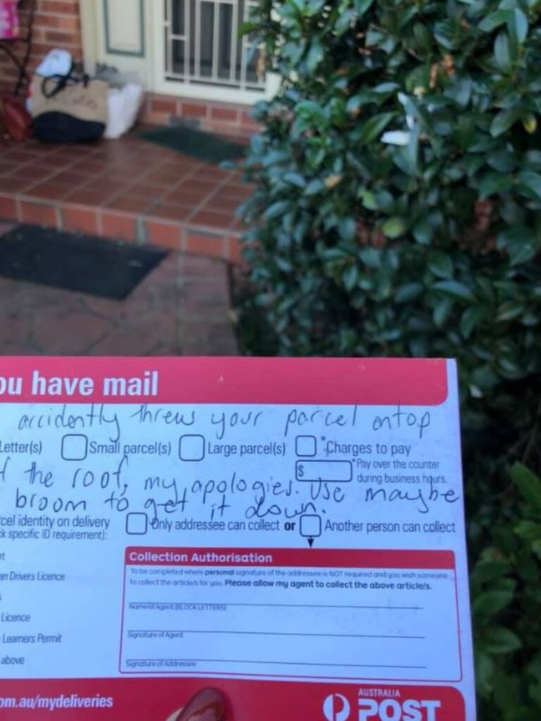 A woman found this unusual note telling her the postman had thrown her package on the roof.