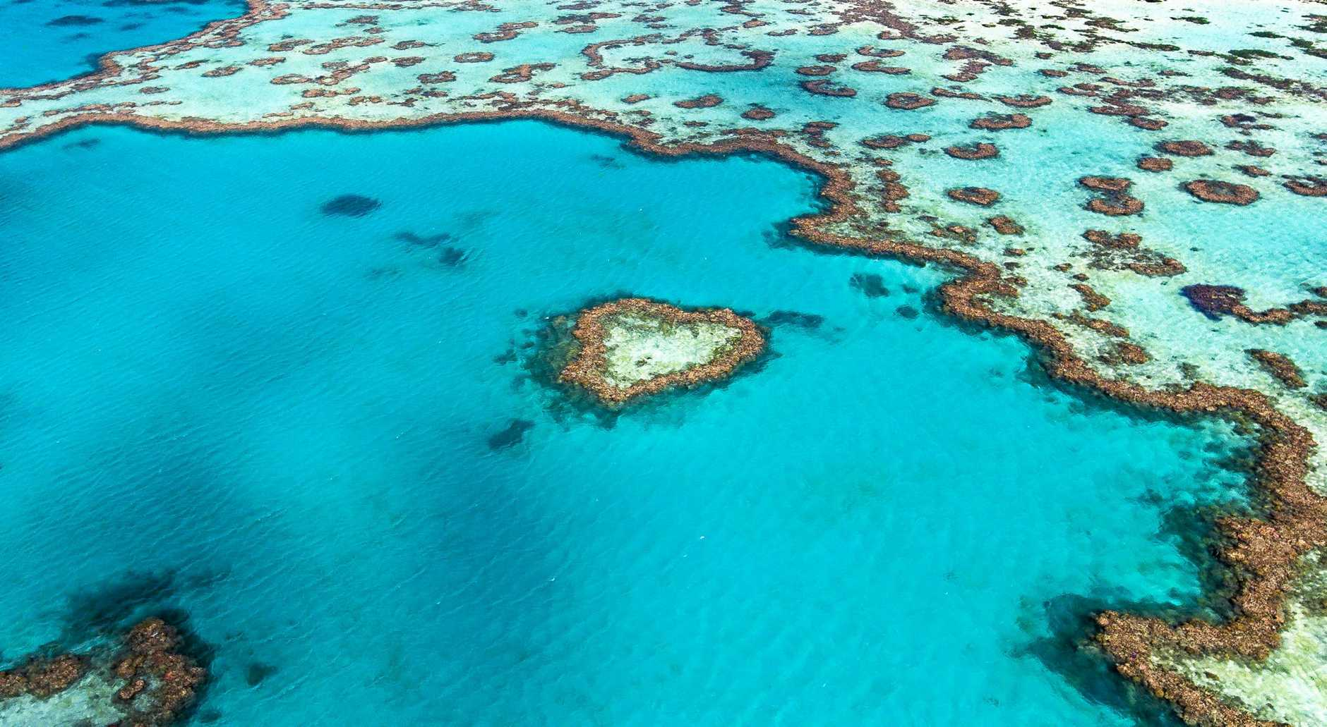 Aerial view of Hardy Reef, home to the Heart Reef, in the Great Barrier Reef.These images were taken on 20 June 2017 by a drone to assess if the Heart Reef has been bleached.