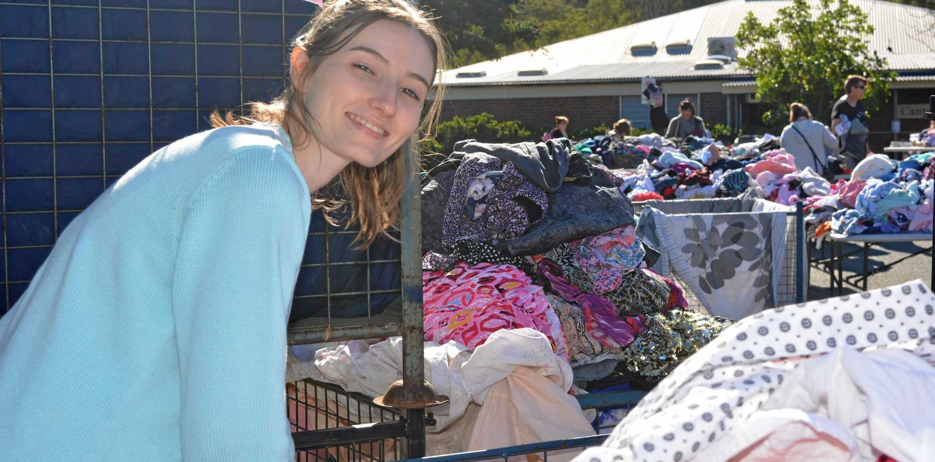 GIANT SALE: Sadie Burton looks for treasures at the Lifeline Mega Sale.