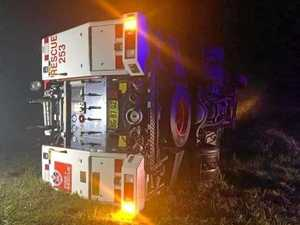 Fire truck overturns in Casino