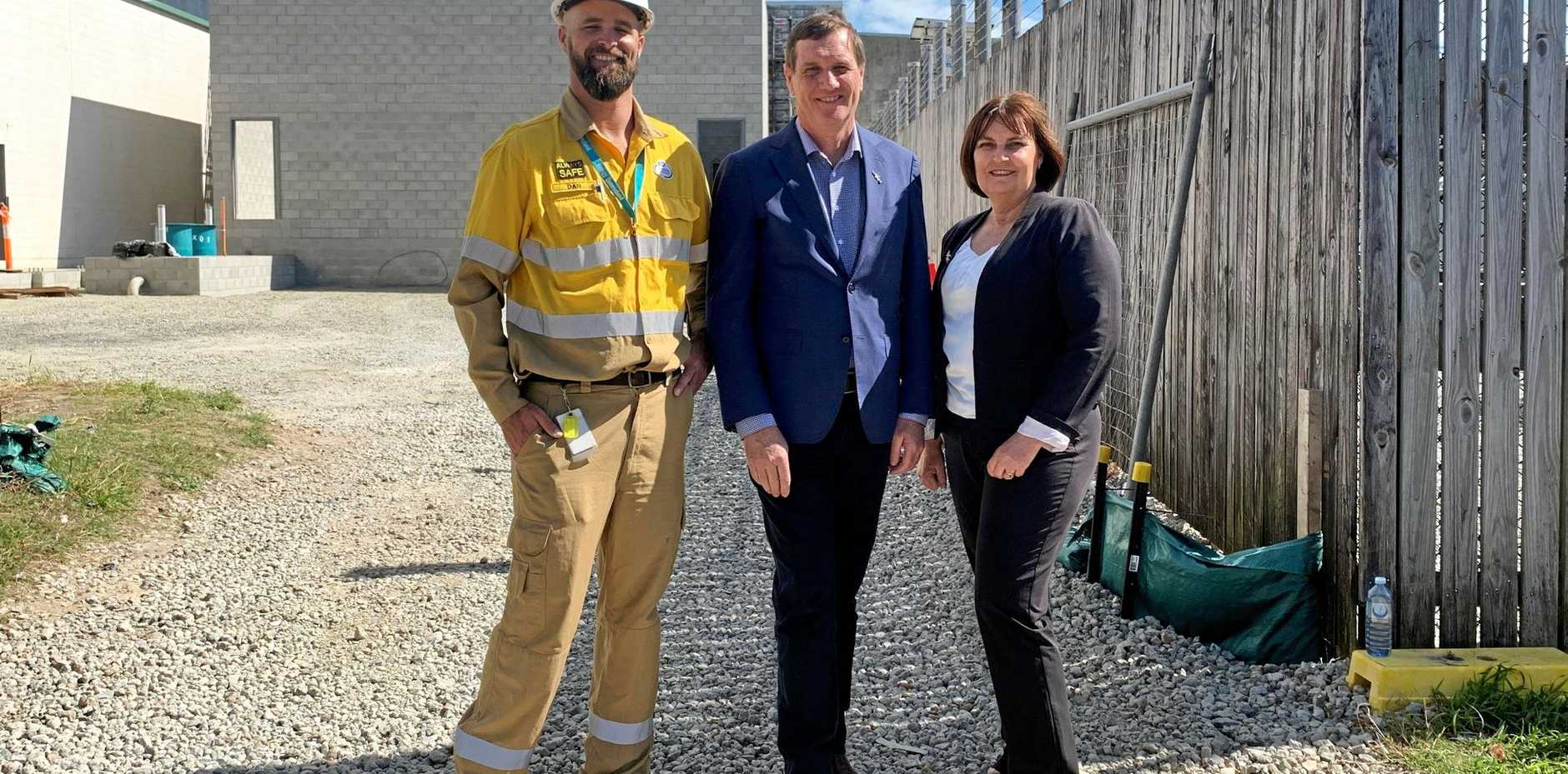 Ergon Energy area manager Dan Werthenbach with Energy Minister Anthony Lynham and Mackay MP Julieanne Gilbert at the Tennyson Street substation.