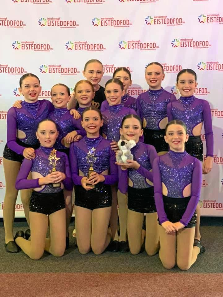 The junior crew from Sparks Dance Centre were proud of their win in the junior jazz section.