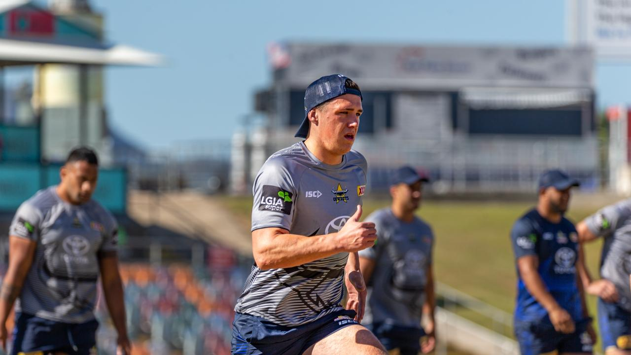 Cowboys recruit Scott Drinkwater gets involved in his first training session with the club since making the switch from Melbourne Storm. Picture Isaac Newman