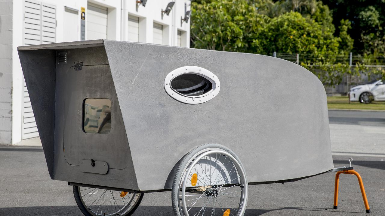 A new homeless pod called, People Pod, being built by Peter Whiffin. Picture: Jerad Williams.