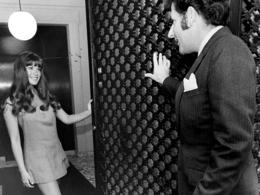 "Barbi Benton welcomes Steve Dunleavy to PlayBoy Club, Chicago, in 1970. One friend said Steve ""loved women, and women loved him."" Picture: Supplied"