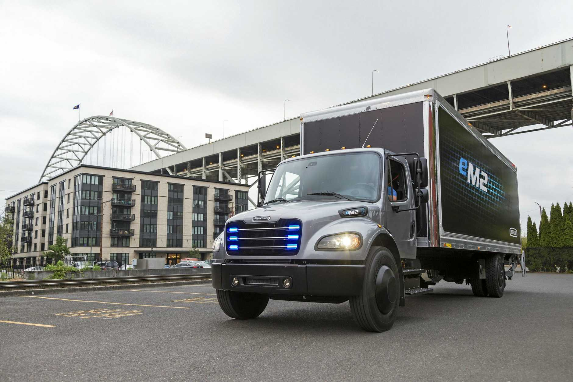 CHARGING FORWARD: Daimler's fully electric medium-duty truck eM2 . The current battery technology in Australia is more suited to light/medium commercials.