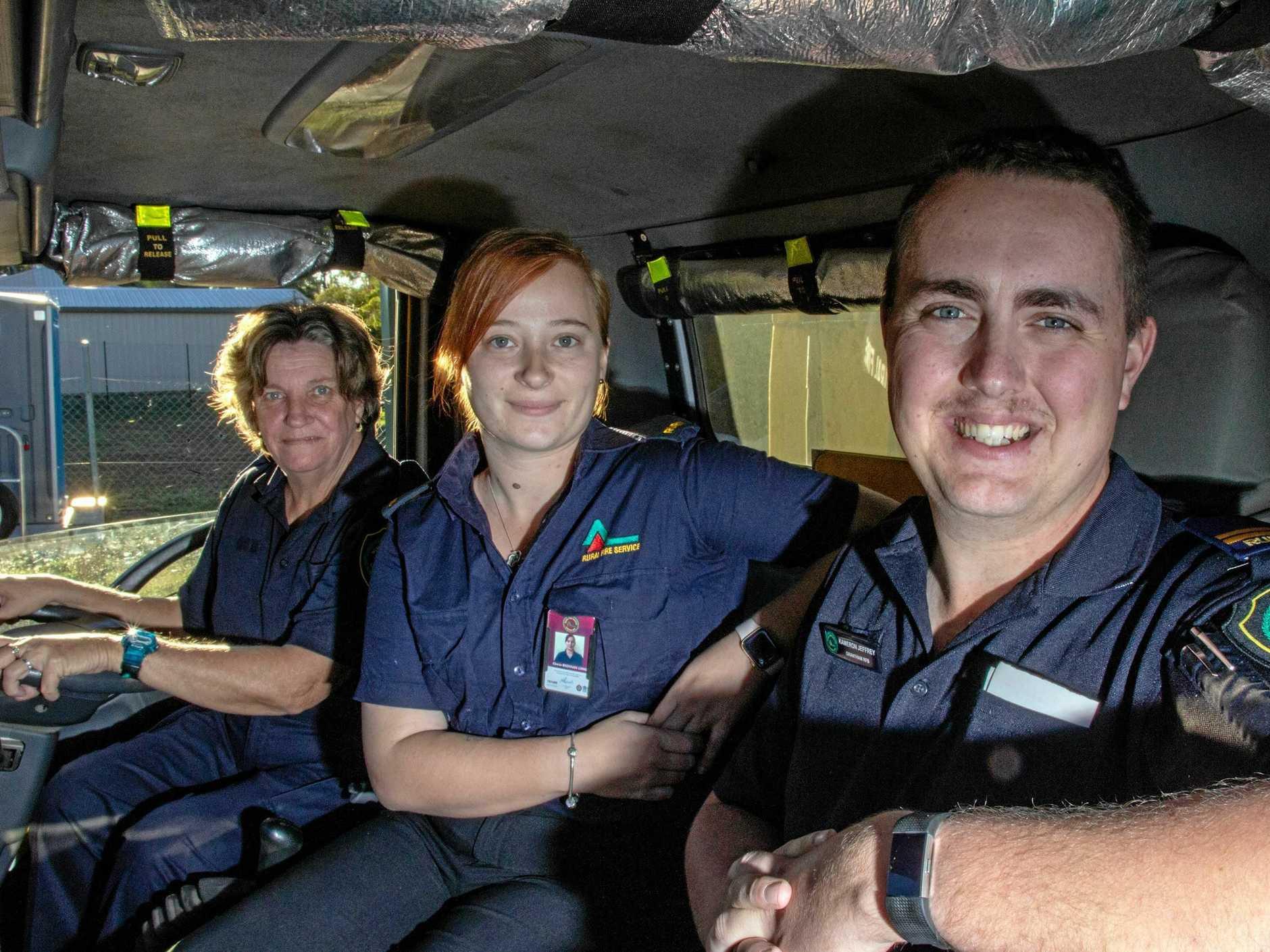 DESPERATE CALL: Grantham Rural Fire Brigade members Gilda Tate, Cherrie Brennan-Long and Kameron Jeffrey are calling for new members ahead of the fire season.