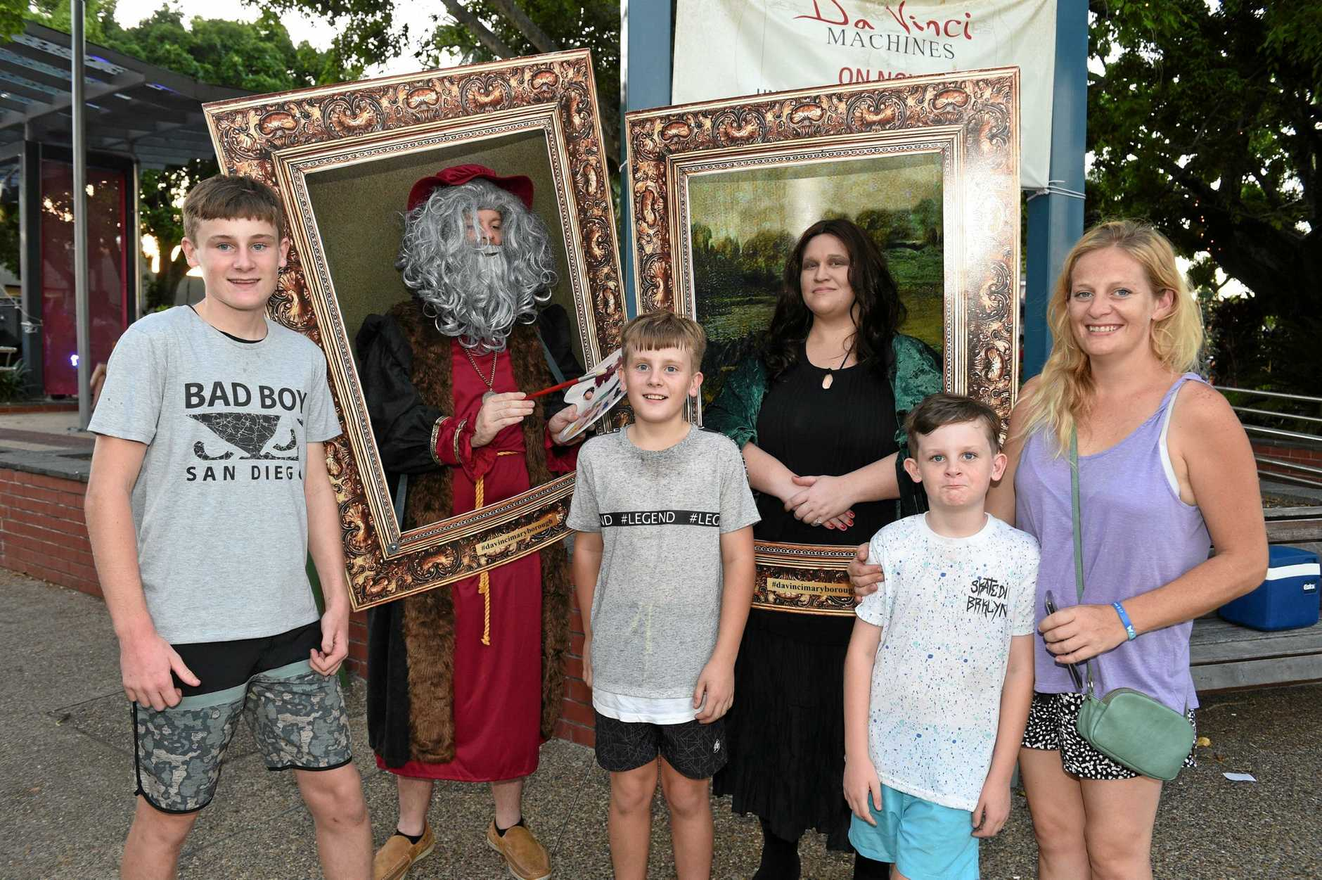 Maryborough Christmas Street Party - (L) Daniel, Jack, Troy and Erin Straker from Maryborough with Tim