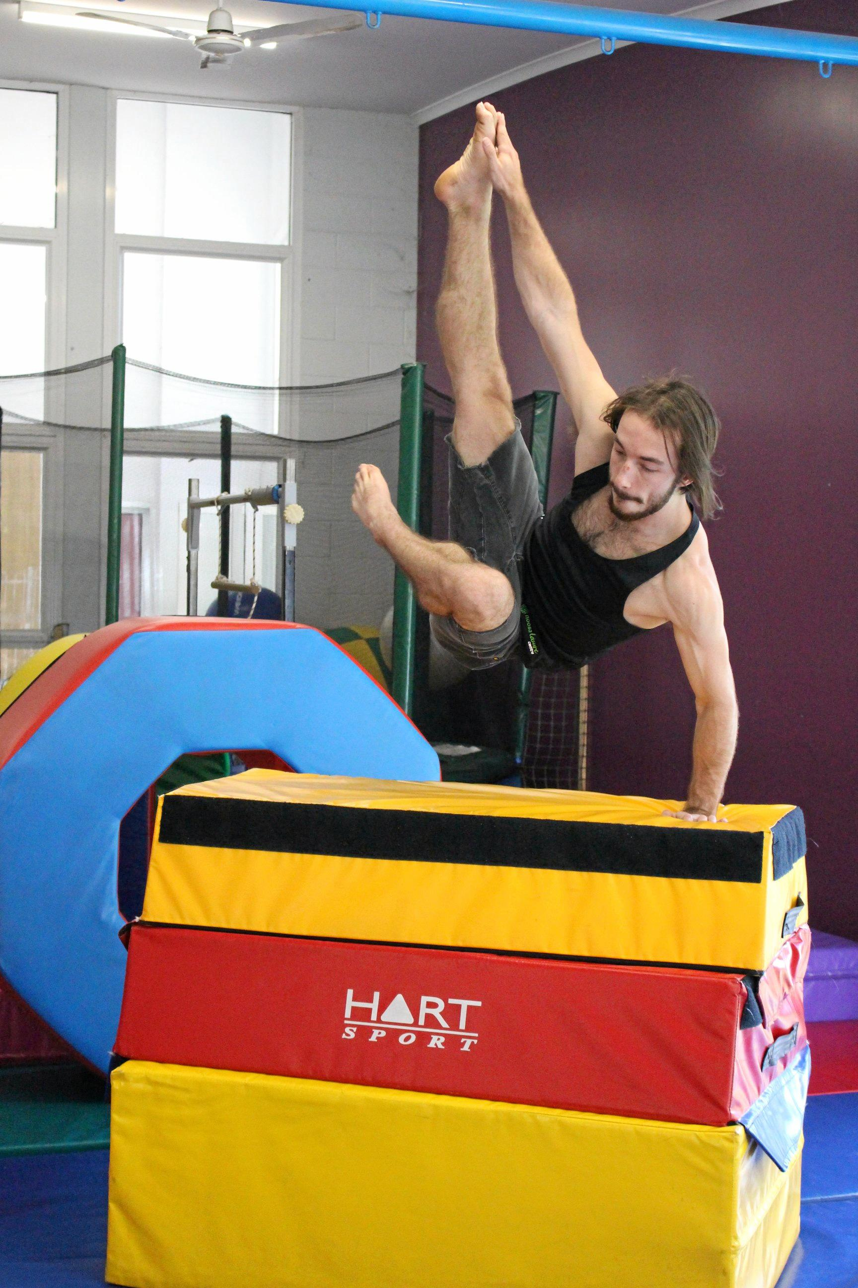 KEEPING FIT: Ryan Collins will lead parkour and acrobatics workshops during the school holidays at Noosa Leisure Centre.