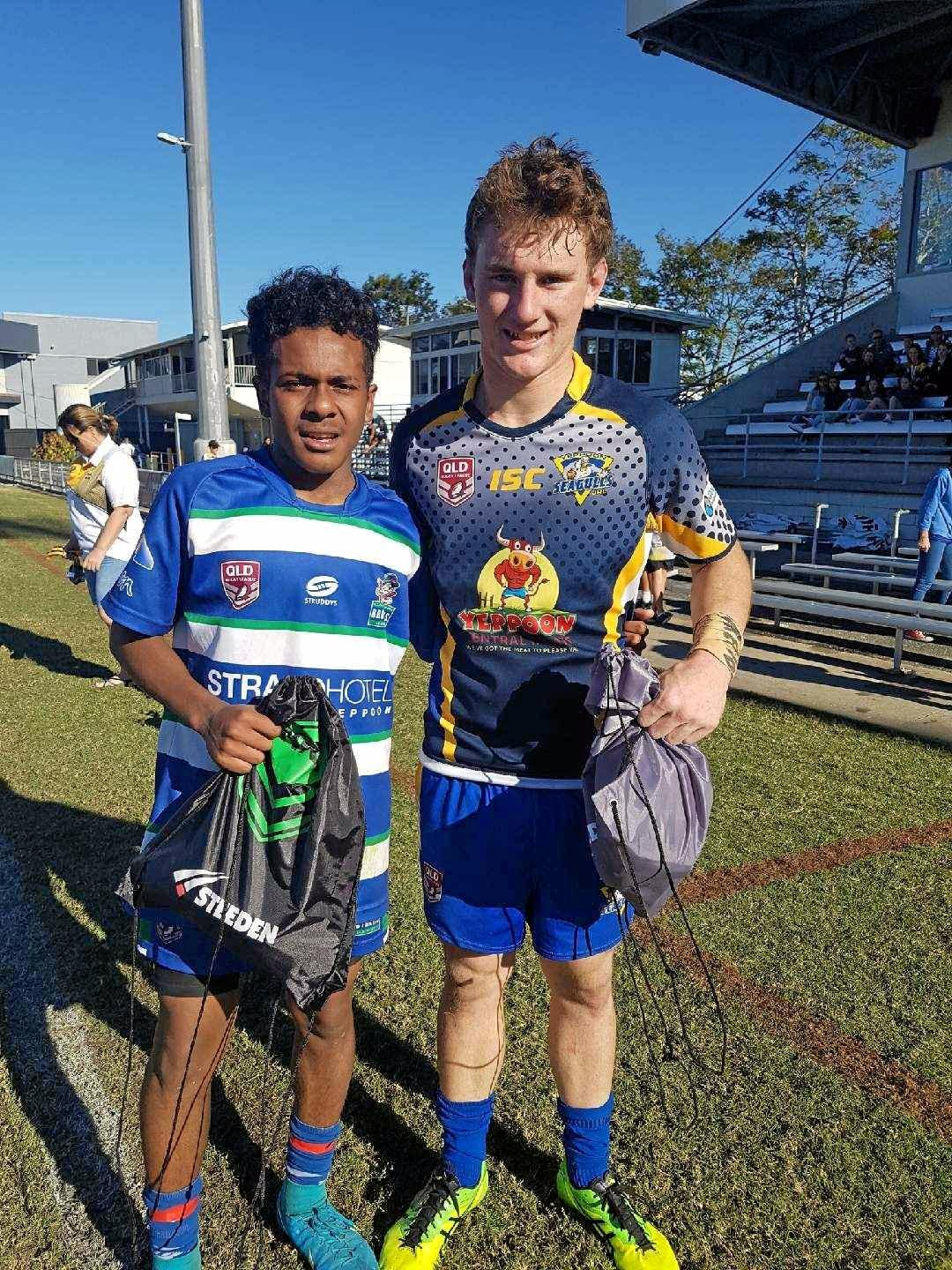 Under-16 MVPs Kongasau Nona (Cap Coast Brothers) and Ben Charles (Yeppoon).